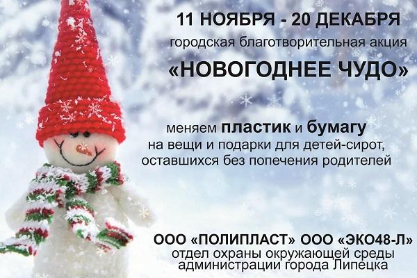 Липчан приглашают поддержать благотворительную акцию «Новогоднее чудо»